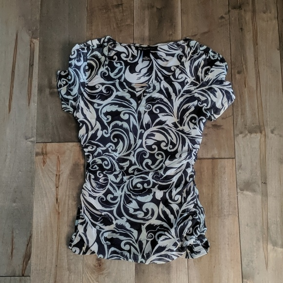 Infinity Raine Tops - INC Navy and blue rouch top